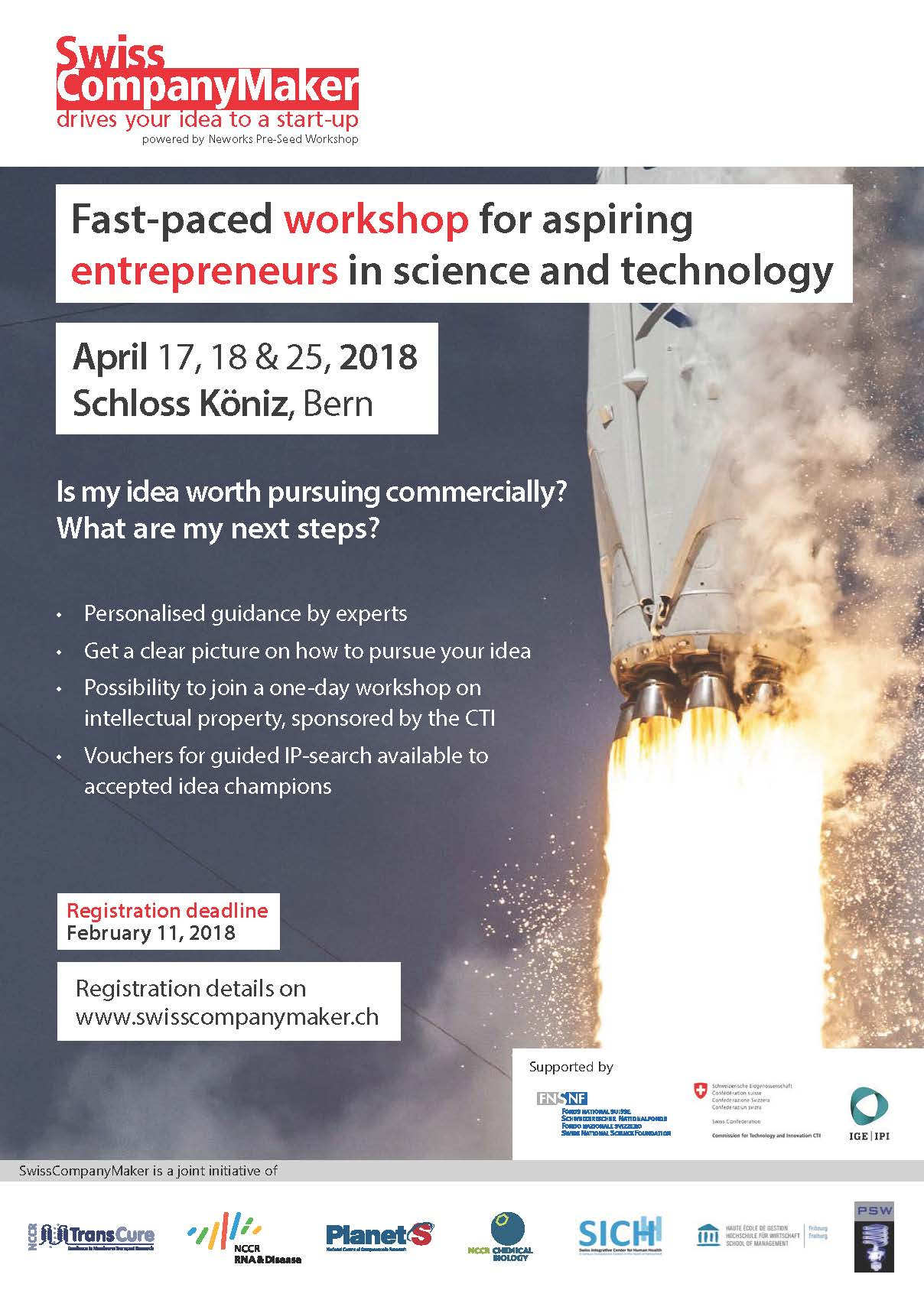 Poster announcing the Fast-paced workshop for aspiring entrepreneurs in science and technology