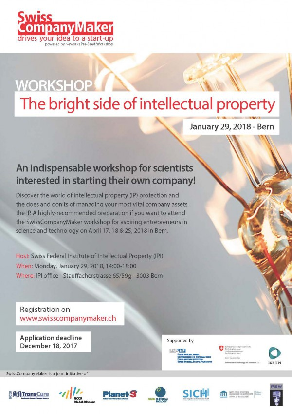 "Poster annoiuncing the workshop ""The bright side of intellectual property"""