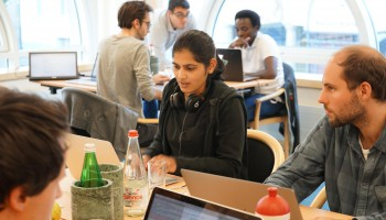 Participants in the second AiiDA coding week at work