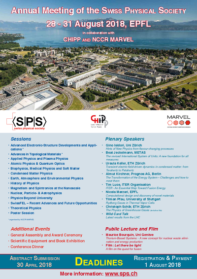 Poster of SPS Annual Meeting, 28 - 31 August 2018 in Lausanne